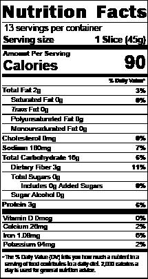 gluten-free sourdough nutrition facts
